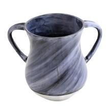 Judaica Hand Wash Cup Netilat Yadayim Last Water Aluminum Natla Gray Marble Look image 1