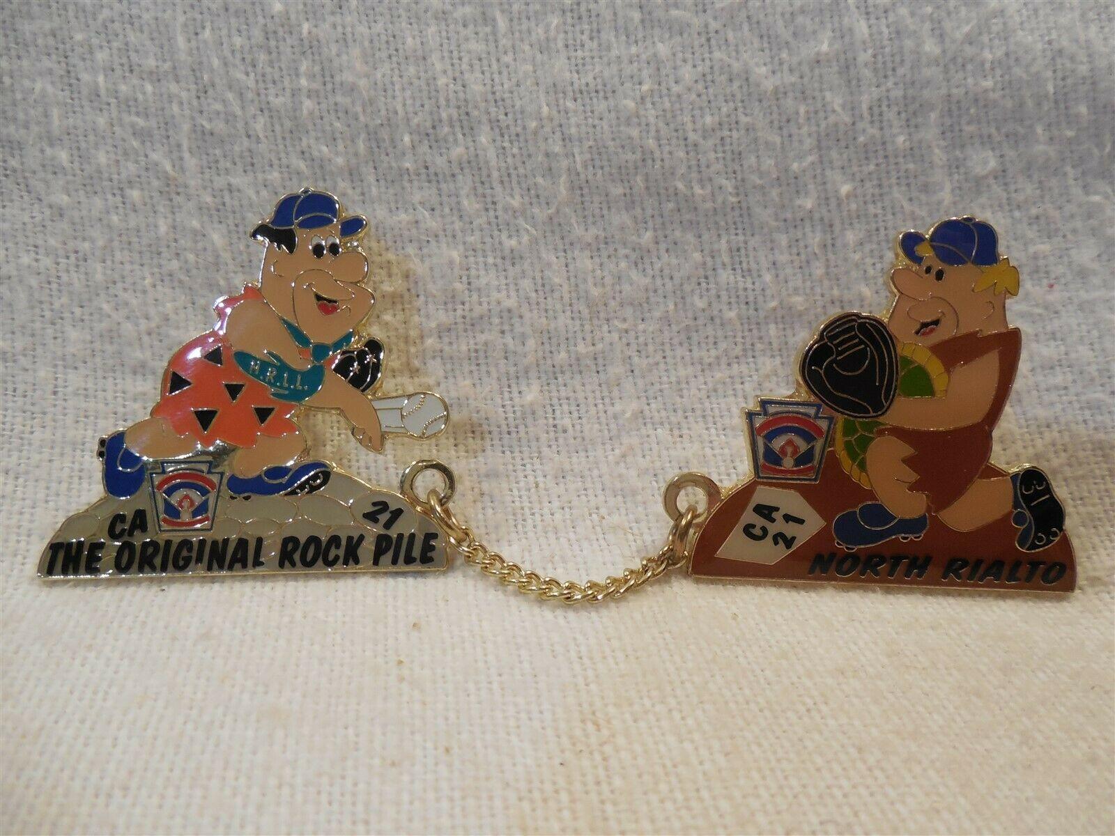 Flintstones Little League CA 21 North Rialto Double Lapel Pin Fred & Barney
