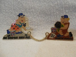 Flintstones Little League CA 21 North Rialto Double Lapel Pin Fred & Barney - $9.95