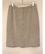 Talbots Womens 10 Pencil Skirt Striped Gray Pockets Seersucker - $24.74