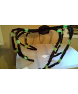 "Halloween Extra Large 50""+ Black & Green Furry Spider Poseable & Bendabl... - $13.99"