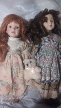 Lot of 2 Doll Porcelain marked Dk Brwn Hair Ted bear & red haired doll f... - $5.99