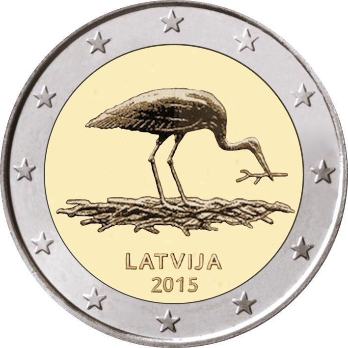 Latvia Stork 2 euro coin 2015 roll 25 coins, Lettland Storch, Lettonie, Letonia