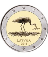 Latvia Stork 2 euro coin 2015 roll 25 coins, Lettland Storch, Lettonie, ... - £62.13 GBP