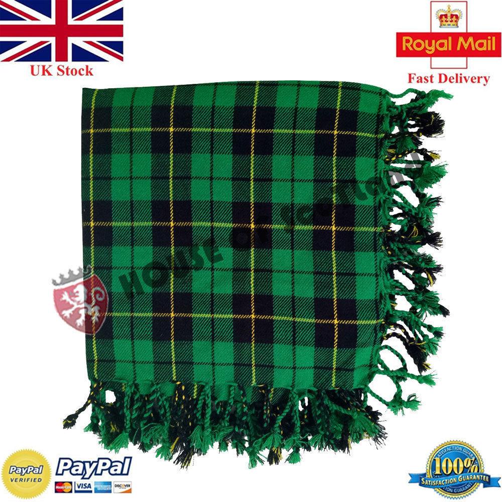 HS Scottish Kilt Fly Plaid Modern Gunn Tartan 48/'/' x 48/'/' Purled Fringe Highland