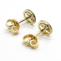 18K YELLOW & WHITE GOLD, MINI 7 MM, ROUND EARRINGS BEAUTIFUL TREE OF LIFE image 4
