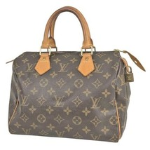 Auth Louis Vuitton Monogram Hand Bag Brown Leather PVC Speedy 25 Logo LVB0765 - $538.56
