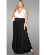 Sexy SWAK Designs Plus Eternity Wrap Party Maxi Dress Black/White Tuxedo... - £65.26 GBP