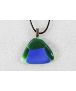 Elegant Handmade Casual Coloured Fused Glass Pendant Necklace + Cord # E... - $3.95