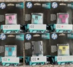 Hp 02 inks full set of 6 in sealed manufacturer's boxes - $24.00