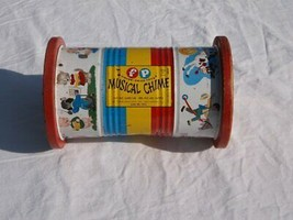 VINTAGE FISHER PRICE PULL TOY MUSICAL CHIME NO 722 BARREL ROLL PUSH STEE... - $4.49