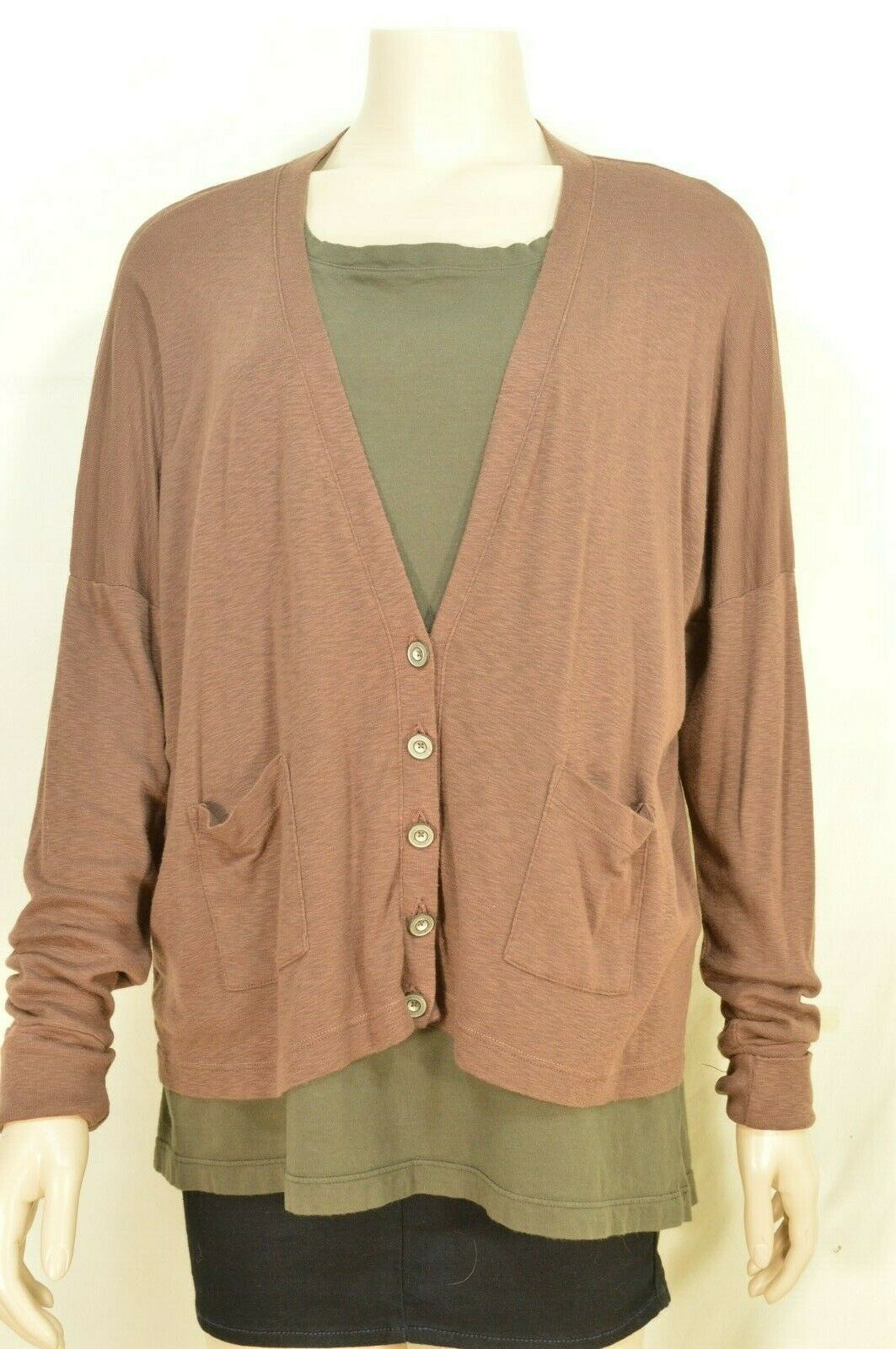 Michael Stars sweater OSFM brown cardigan dropped shoulders lightweight fall USA