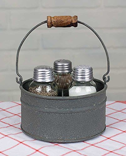 Country Galvanized Salt and Pepper Shaker Set Toothpick Holder