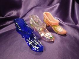 3 Fenton Hand Painted Shoe Slippers Glass Art - Flowers, Snowflakes, Iri... - $59.40