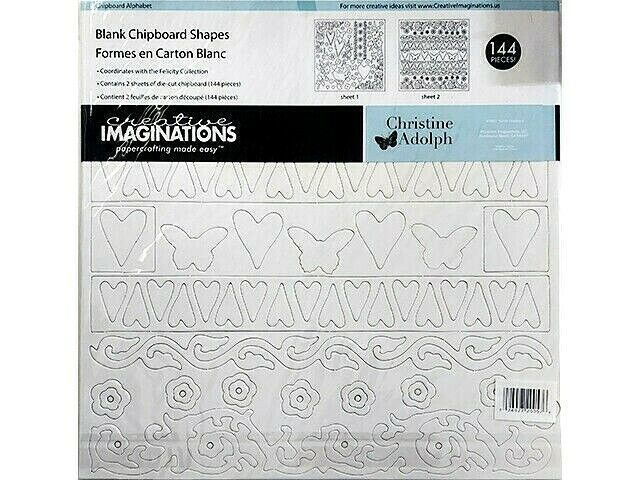 Creative Imaginations Blank Chipboard Shapes Felicity Collection, 144 Pieces