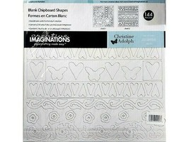 Creative Imaginations Blank Chipboard Shapes Felicity Collection, 144 Pieces image 1