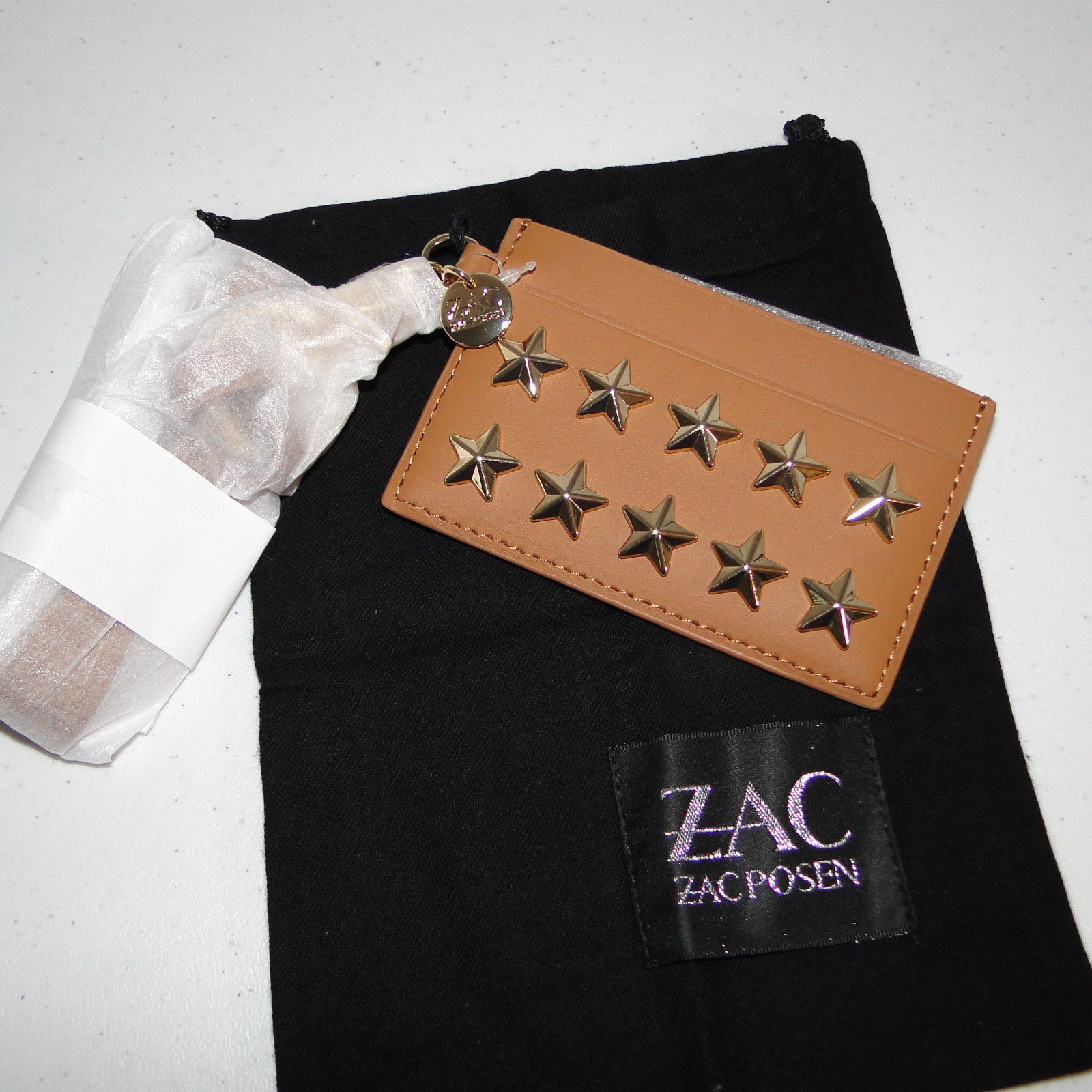 ZAC ZAC POSEN STAR STUDDED LANYARD CARD CASE
