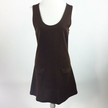 Ann Taylor Wool Knit Sweater Dress Brown Size Small Front Pockets Modest Career - $27.09