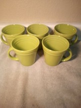 (5)  RACHAEL RAY COFFEE MUGS / CUPS--DOUBLE RIDGE--GREEN---FREE SHIP--VGC - $28.08