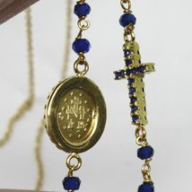 18K YELLOW GOLD ROSARY NECKLACE, FACETED SAPPHIRE ROOT, CROSS & MIRACULOUS MEDAL image 6