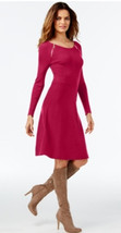 INC International Concepts Double Zip A-Line Berry Knit Sweater Dress Me... - $39.68