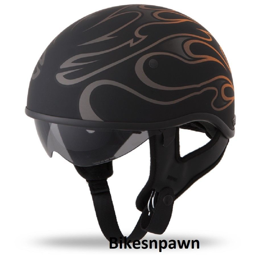 New L Flat Black/Orange Fly Racing DOT Approved .357 Motorcycle Half Helmet