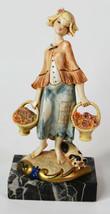 "7"" Vintage Simonetti Italy Statue Peasant Girl w/ Flowers Baskets Carrar... - $28.49"