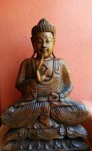 Buddha Handcarved wood sculpture statue Meditat... - $220.00
