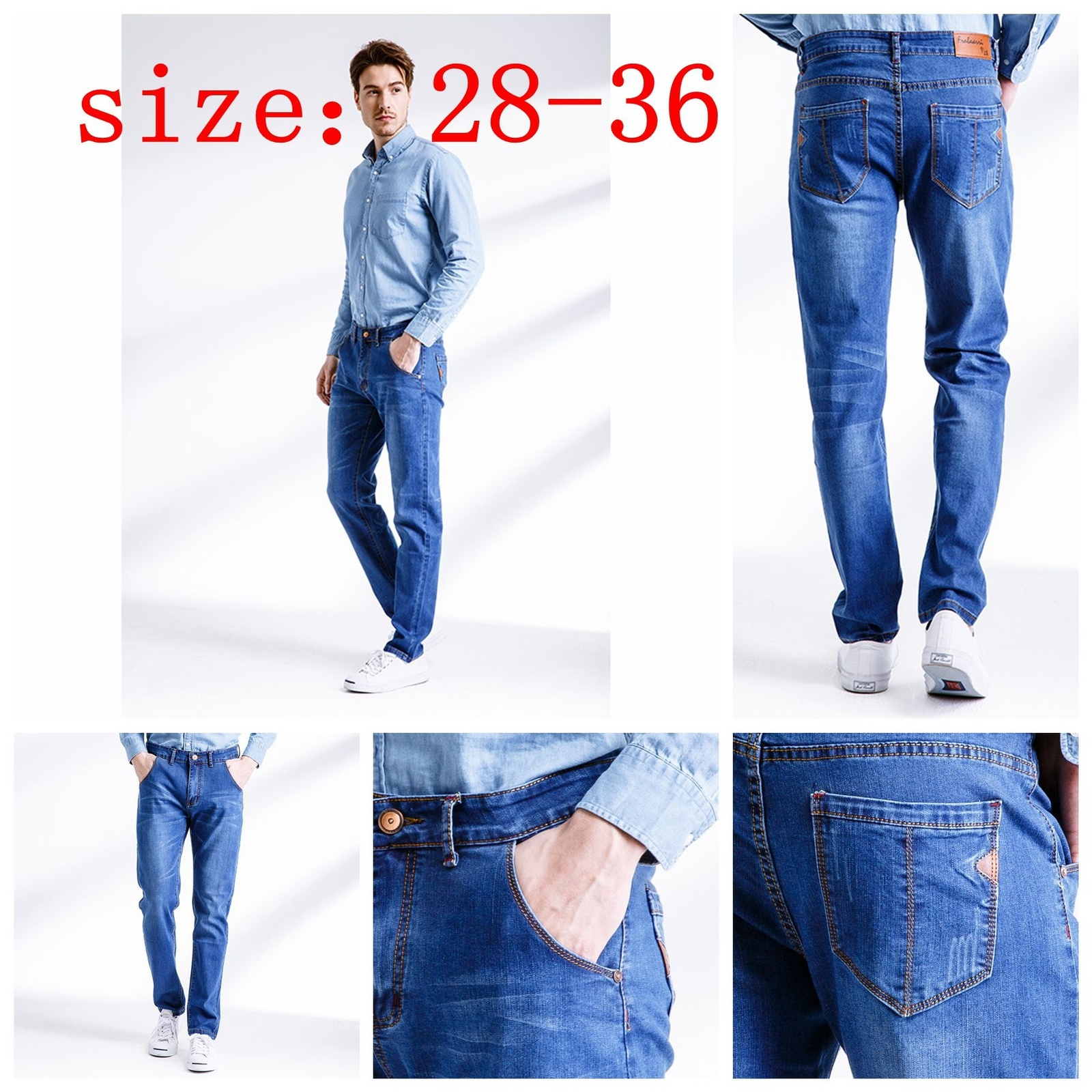 Primary image for Vintage men's jeans nostalgia Brand new men jeans, casual jeans, pure color