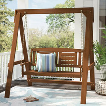Wood Porch Swing With Stand 2 Seat Glider Outdoor Patio Furniture Hangin... - $271.59