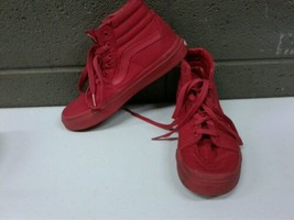 Solid Red Vans Off the Wall Boys Size 3 High Top Canvas Skater Skate Shoes (a217 - $37.39
