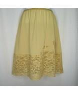 Vintage 50s Vanity Fair Half Slip S Tan Brown Wide Lace Hemline Glam Pinup - $29.65