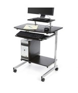 Espresso Mobile Desk Computer Cart Storage Rolling Office CPU Printer CD... - $105.83