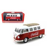 1962 Volkswagen Samba Bus Van Coca Cola Red/White 1/18 by Motorcity Clas... - $94.93