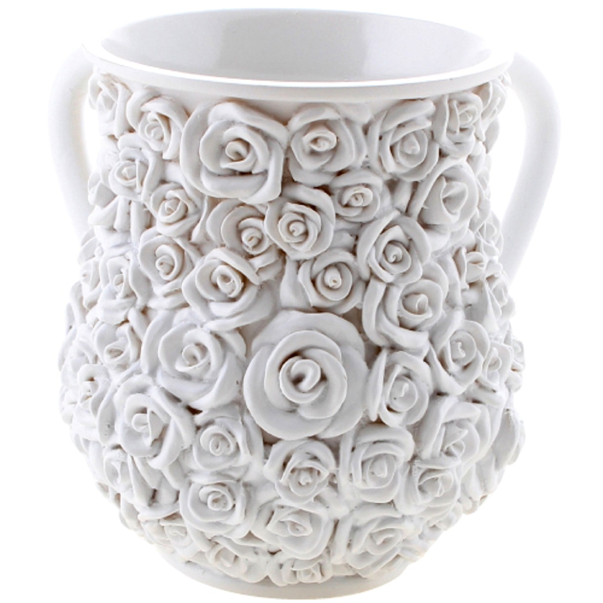 Judaica Poly White 3D Roses Hand Washing Cup Netilat Yadayim Natla Last Waters
