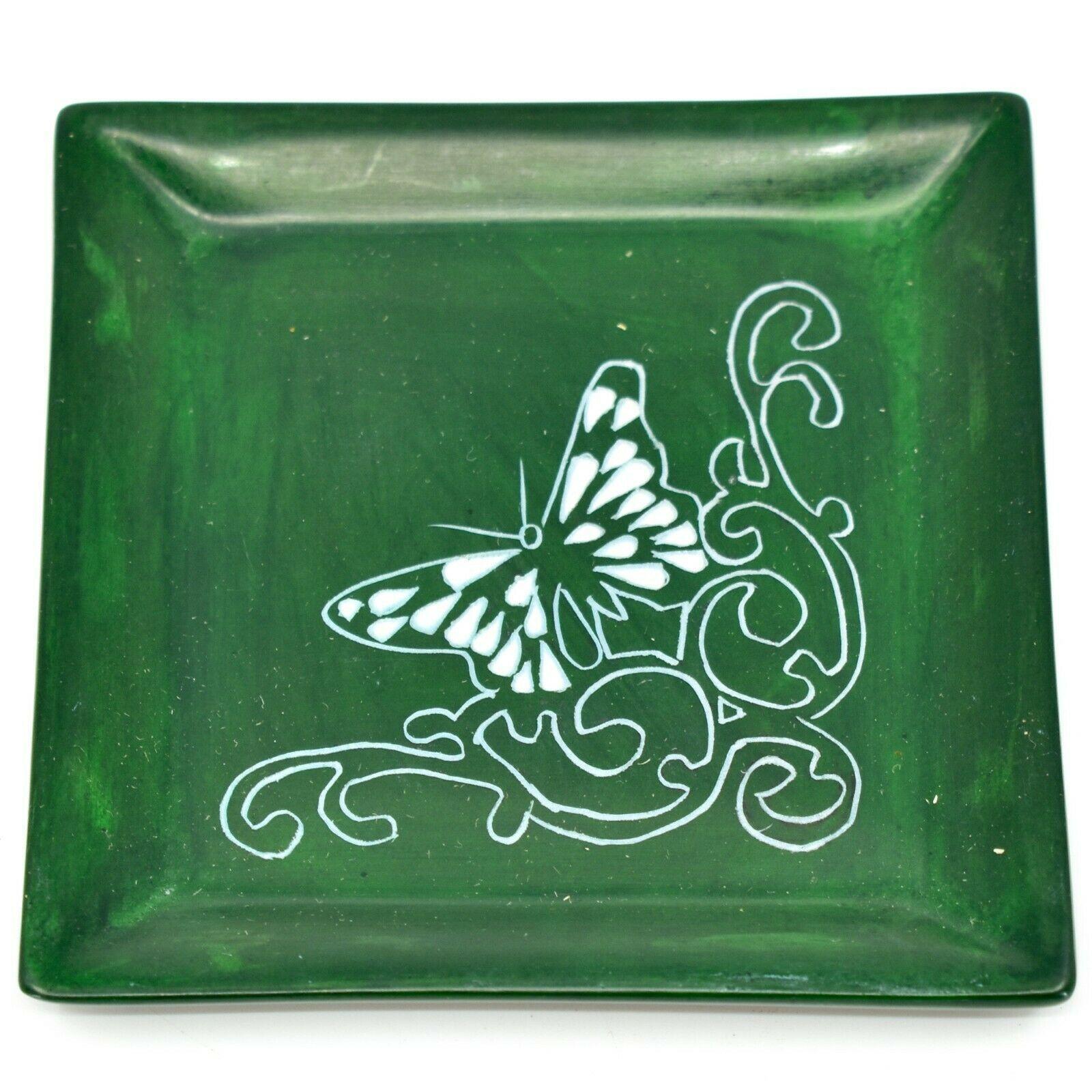 Tabaka Chigware Hand Carved Kisii Soapstone Butterfly Green Trinket Dish Kenya