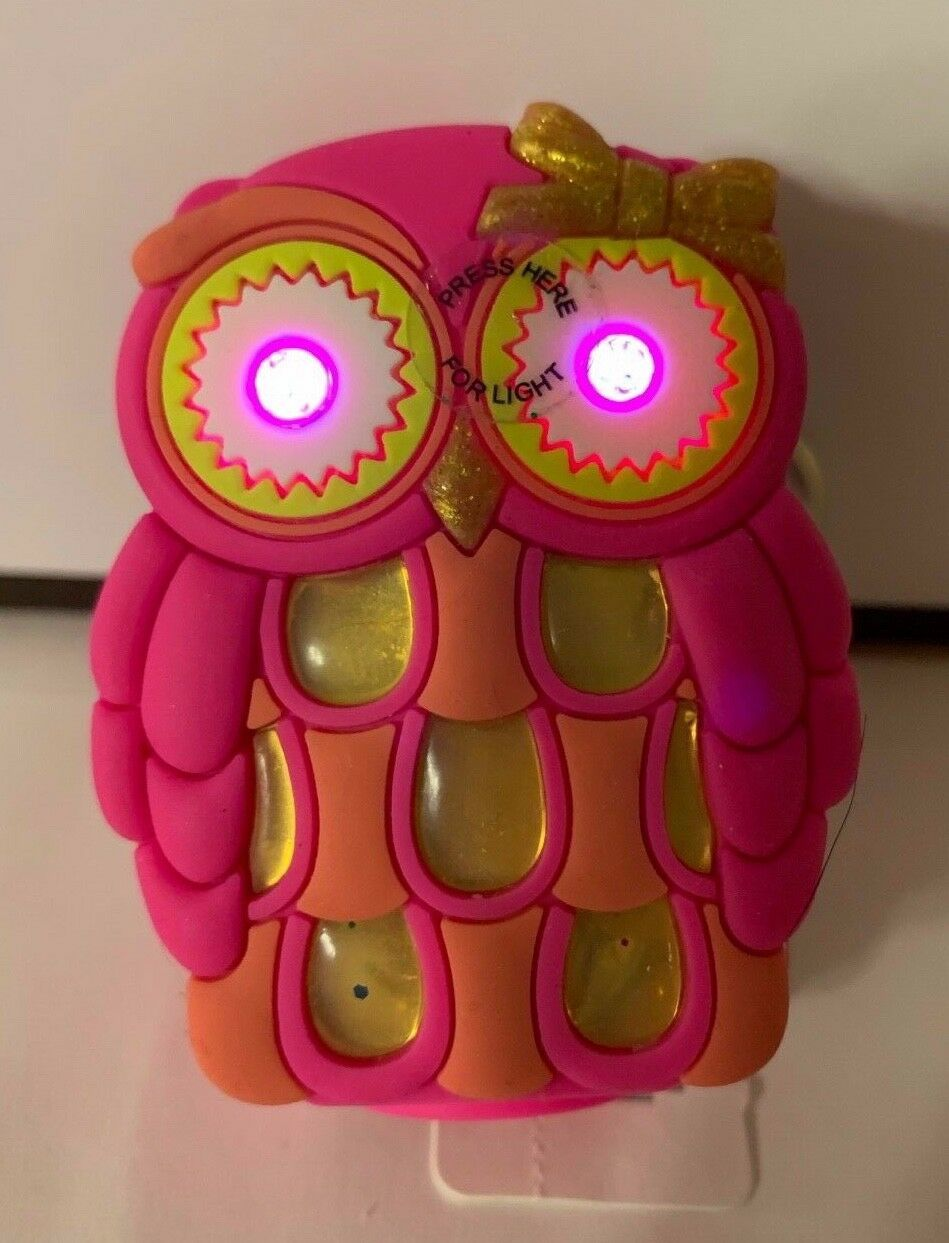 Bath Body Works Light Up Pink Owl w Eyes Older Antibacterial Gel Holder Keychain