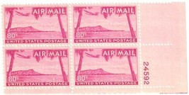 1952 Diamond Head Plate Block of 4 US Airmail Stamps Catalog Number C46 MH