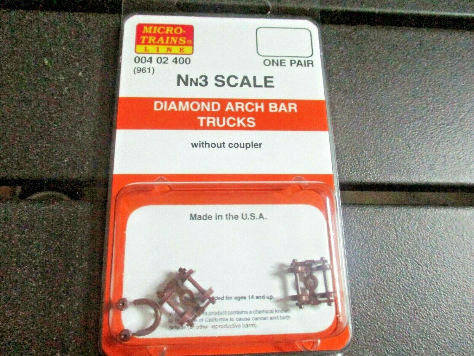 Micro-Trains Stock # 004002400 (961) Diamond Arch Bar Trucks Nn3 1 Pair
