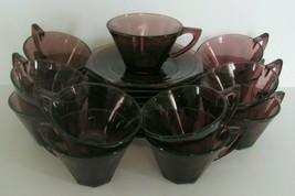 Hazel Atlas Moroccan Cups & Saucers Amethyst Purple Glass Octagon 23 pcs - $37.39