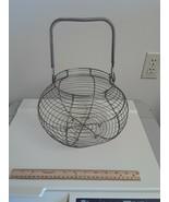"""Vintage French Antique Wire Egg Basket 12"""" Wide Farm Estate Find - $69.25"""