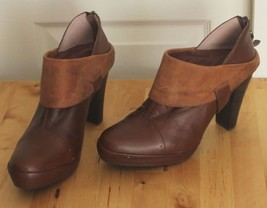 BIVIEL Anthropologie Brown Leather Heel Zip Up Ankle Bootie Sz 40 (US 9.5-10) - $39.95