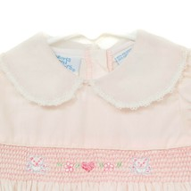 Hearts and Flowers Smocked Dress 6-9 Mos Girls Pink Teddy Bear Collar Lace - $29.59