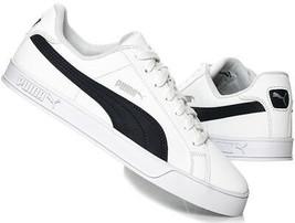 Puma Hommes Smash Vulc Baskets Cuir Chaussures 359622-10 Blanc / Caban - $62.74