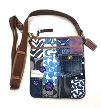 Coach  #10818 ~ Denim Patchwork Swingpack Crossbody Purple Daisy Bag - $44.00