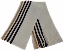 Frederick Thomas Mens Cream Brown Striped Wool Type Scarf FT867 - £14.36 GBP