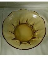 Mid Century Modern Amber Scalloped Serving Bowl Scalloped Rib Star Shape - $19.99
