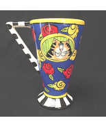 Candace Reiter Catzilla Coffee Mug Cat Flowerd with Smiling Cat 14 oz Cu... - $21.78