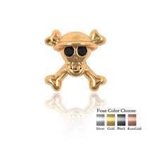 Pirate Skull Head Beads Pave Black CZ for Men's Charm Bracelet Jewelry M... - $1.99