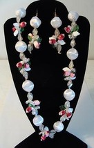 "Vintage 22"" Plastic Drop Cluster Bead Necklace  w/ Pierced Earrings Japan"